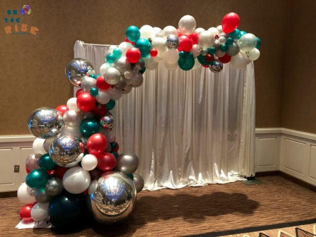 Christmas Themed Organic Balloon Half Arch On The Rise